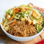 pancit bihon with fried tofu and vegetables