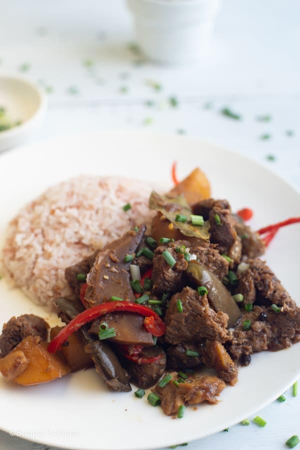 vegetarian Filipino Chicken Adobo with brown rice