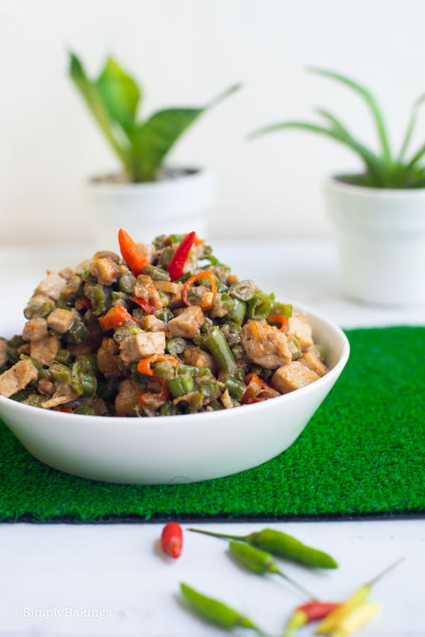 vegetarian Bicol Express on a white plate with peppers