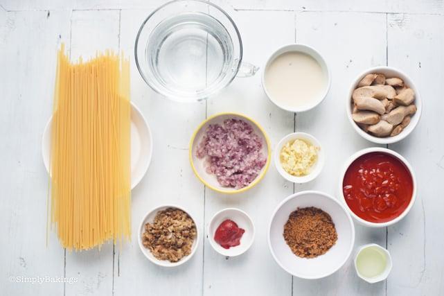 vegan Filipino spaghetti ingredients