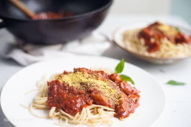 delicious and easy to cook vegan Filipino spaghetti