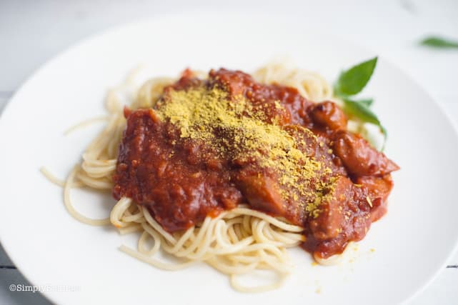delicious and filling vegan Filipino spaghetti on a white plate