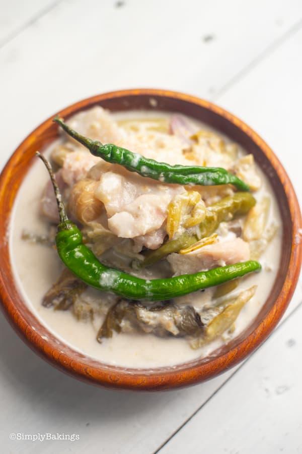 ginataang gabi in a wooden bowl