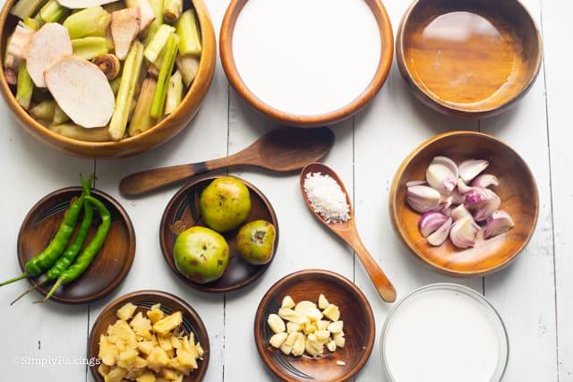 ingredients for the ginataang gabi recipe
