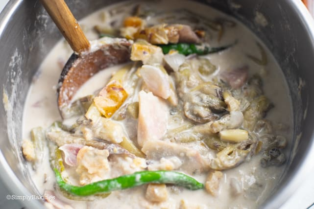 cooked vegetarian ginataang gabi or taro