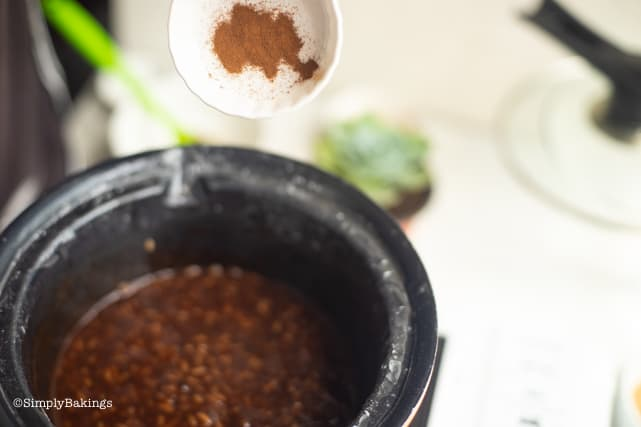 adding the cinnamon to the vegan filipino champorado