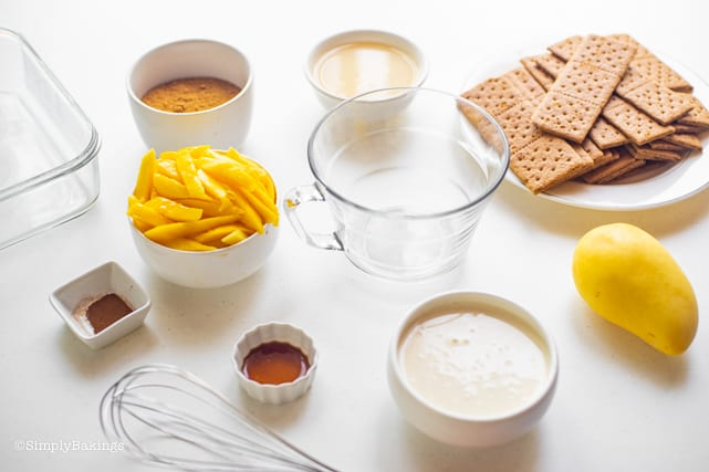 Mango Float ingredients and kitchen tools