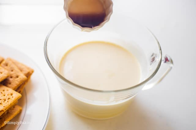 adding vanilla to the condensed milk and cream mixture