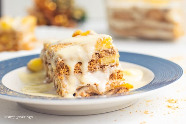 a slice of delicious Mango Float on a plate