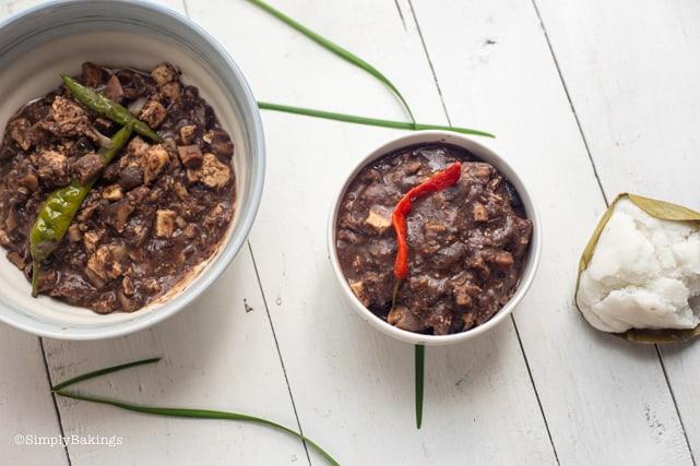 vegan dinuguan in bowls with rice puto