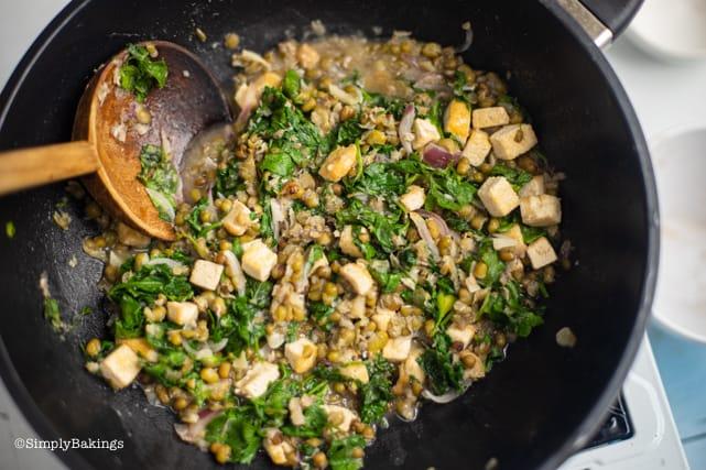 cooked Ginisang monggo in a pan
