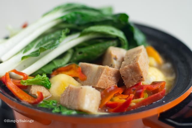 vegan pochero in a pot