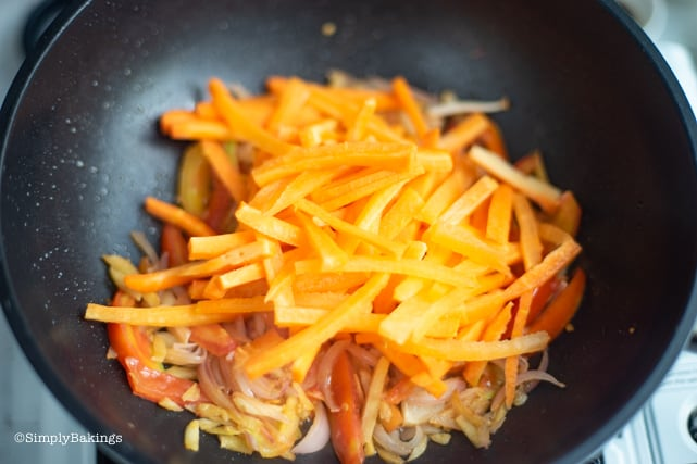 sauteing the thinly sliced carrots for the Filipino Vegan Escabeche