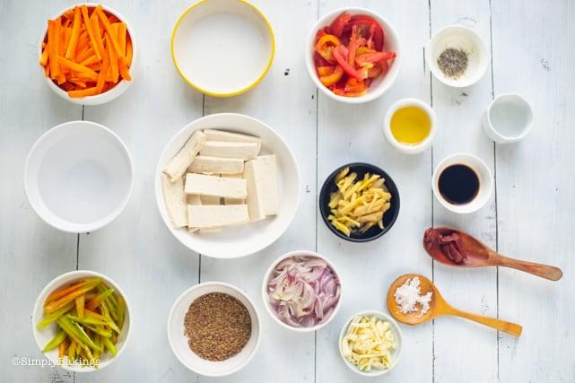 ingredients for Filipino Vegan Escabeche recipe