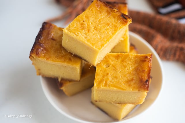 delicious cassava cake slices in a white bowl