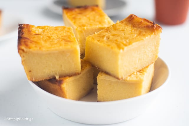 slices of cassava cake in a white bowl