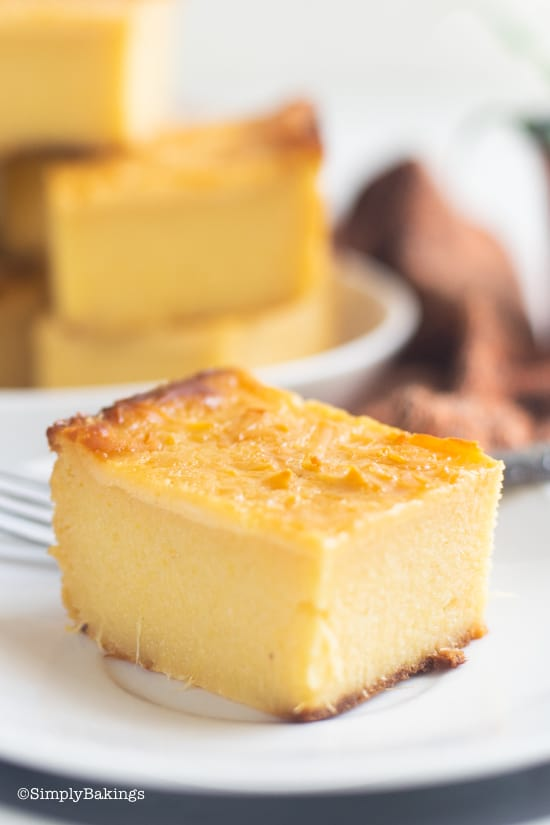 Delicious and cheesy cassava cake on a plate