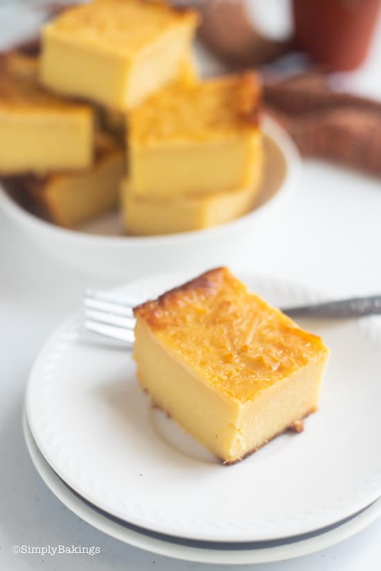 delicious, sweet and creamy cassava cake on a white plate with fork