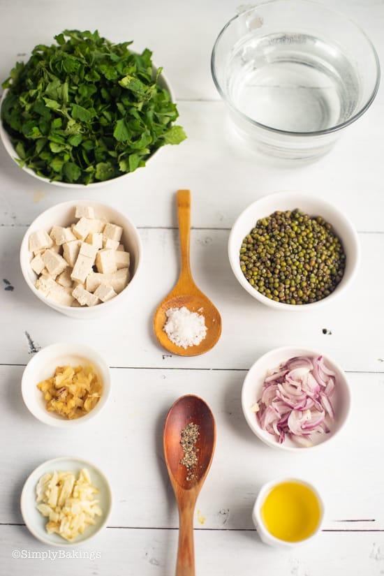 ingredients for Ginisang monggo