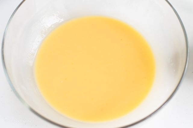mixed custard topping in a clear large bowl