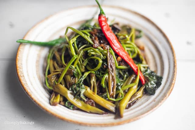 Stir fried Kangkong in a plate