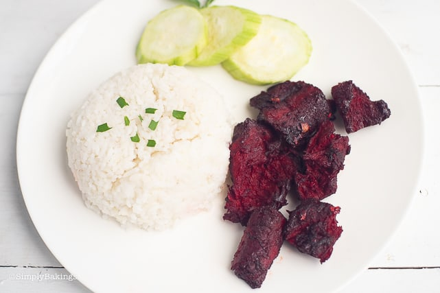 Vegan Tocino with steamed rice and cucumber slices
