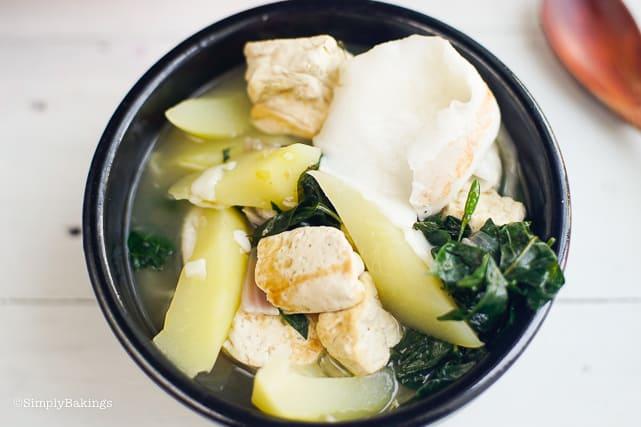 vegan Binakol in a black bowl with sili leaves