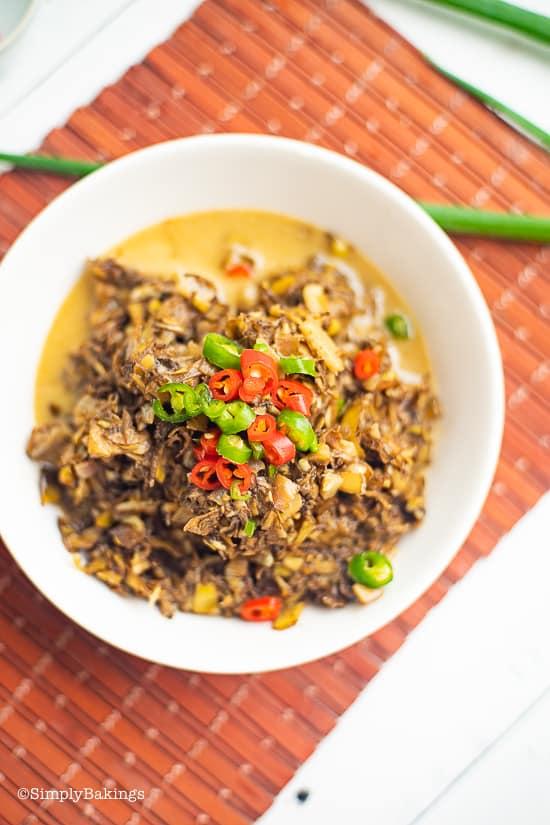 ginataang puso ng saging in a white bowl