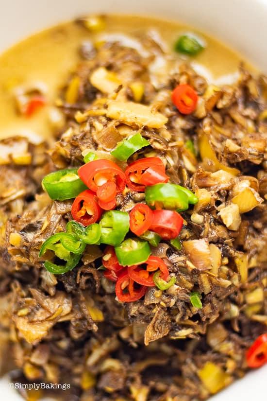 creamy and spicy ginataang puso ng saging in a bowl