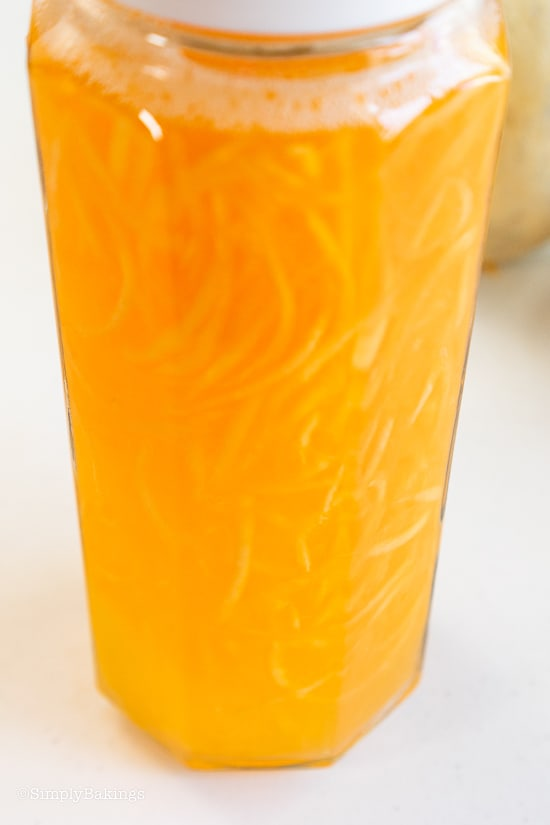 cantaloupe juice in a pitcher