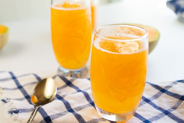 yummy cantaloupe juice in 2 glasses