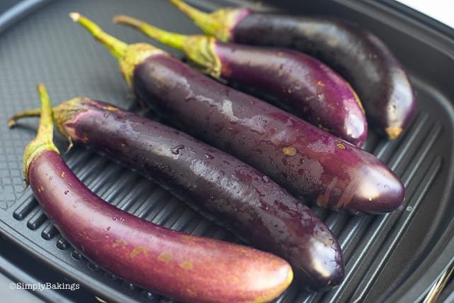 grilling the eggplant on a grill pan