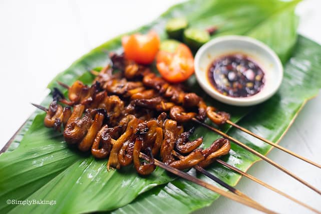 freshly grilled vegan isaw on a leaf