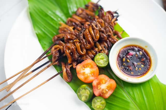 delicious grilled vegan isaw on a plate