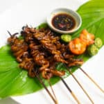 vegan isaw on a leaf