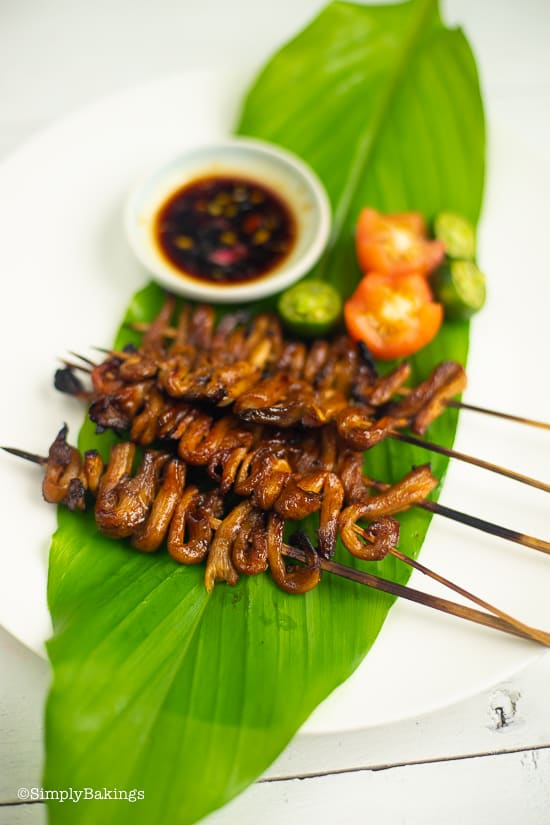 delicious and warm vegan isaw on a leaf