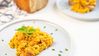 delicious and fluffy tofu scramble on a plate
