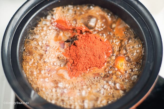 vegan cansi soup with annatto powder and star anise