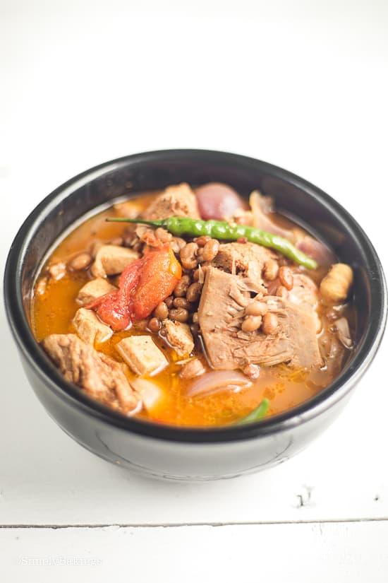 vegan cansi in a black bowl