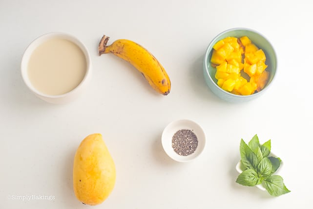 ingredients for banana mango smoothie