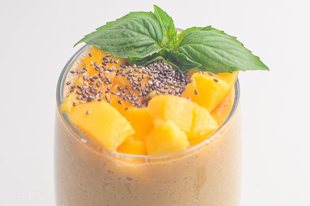 closeup of banana mango smoothie with chia seeds