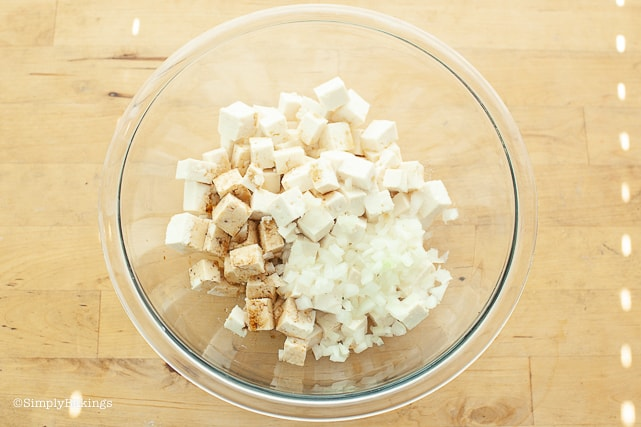 tofu cubes, soy sauce and green onions