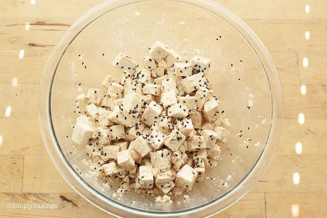 tofu poke in a clear bowl