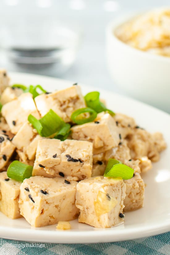 delicious tofu poke on a white plate