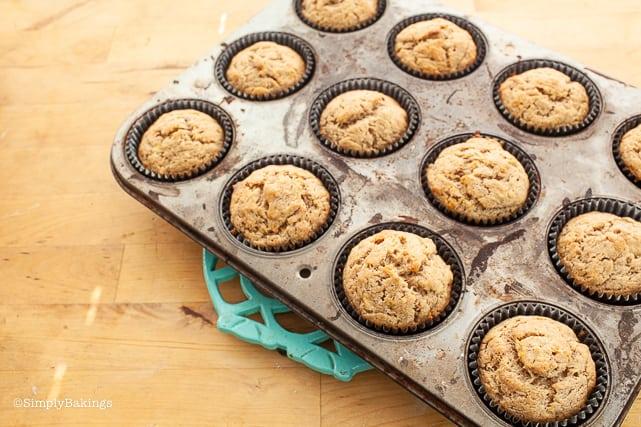 freshly baked vegan banana muffins