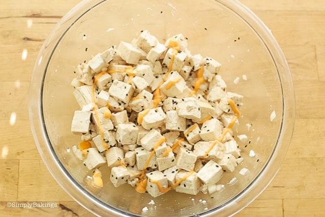 tofu poke with sriracha mayo
