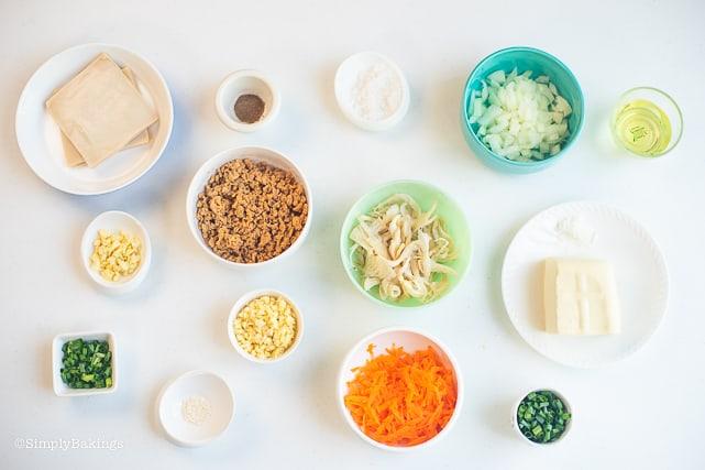 Ingredients for vegetarian Pancit Molo
