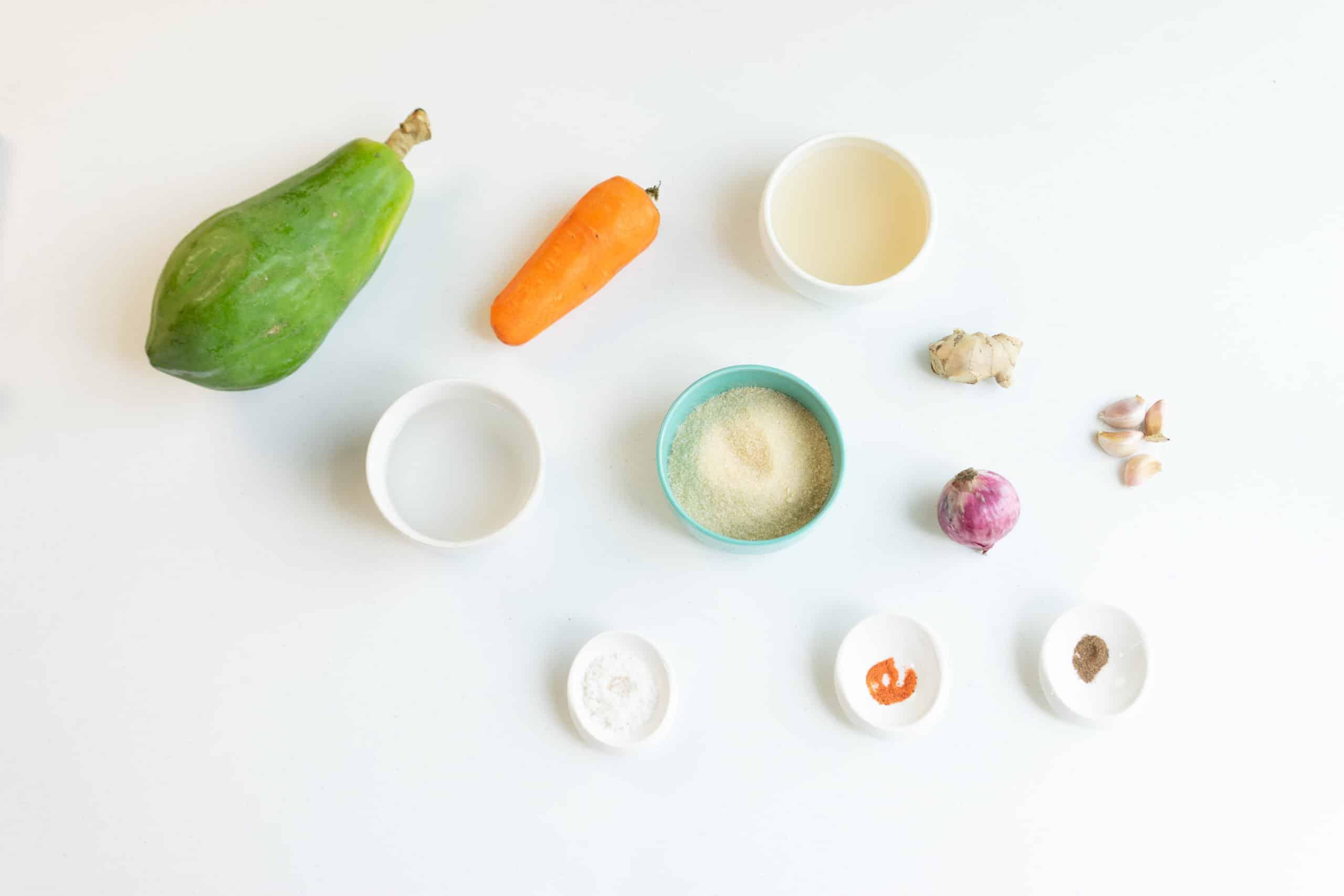 pickled green papaya relish or atsara ingredients
