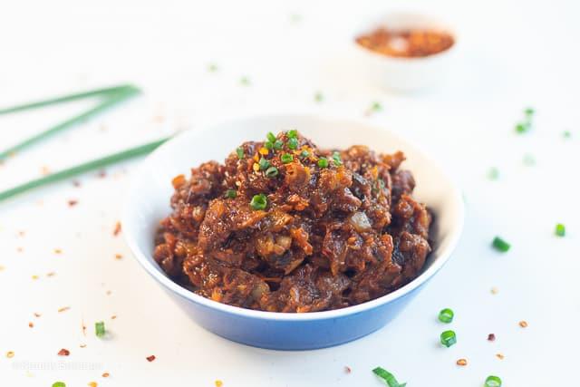 delicious vegan bagoong in a white bowl