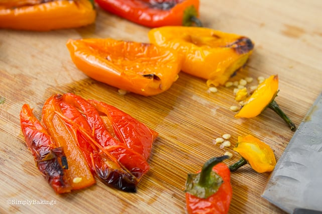 roasted sweet bell peppers for chickpea buddha bowl